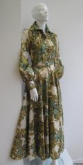 1970's Apple Print full length vintage dress on acetate twill Jean Varon **SOLD**